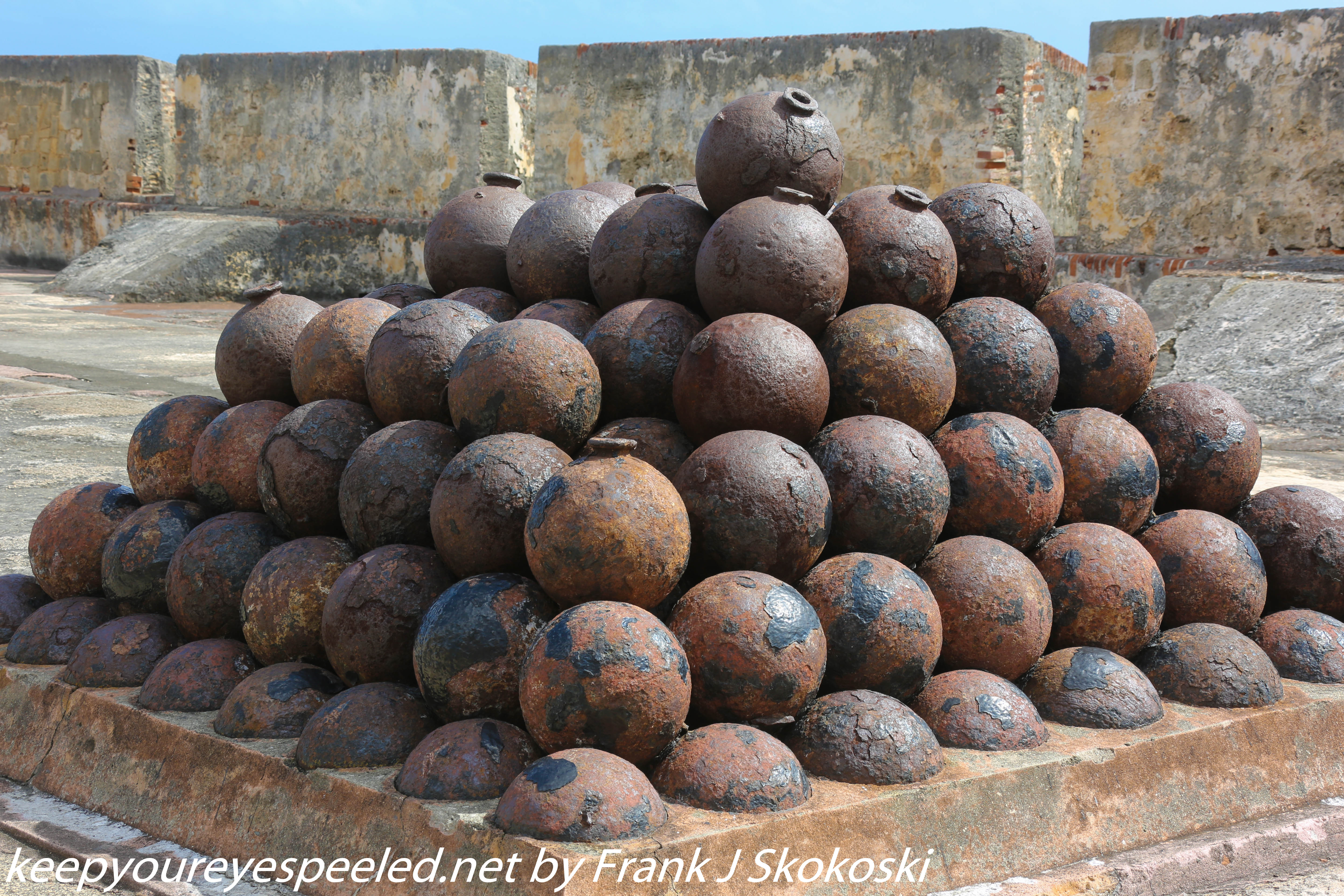 Cannon balls atop fort