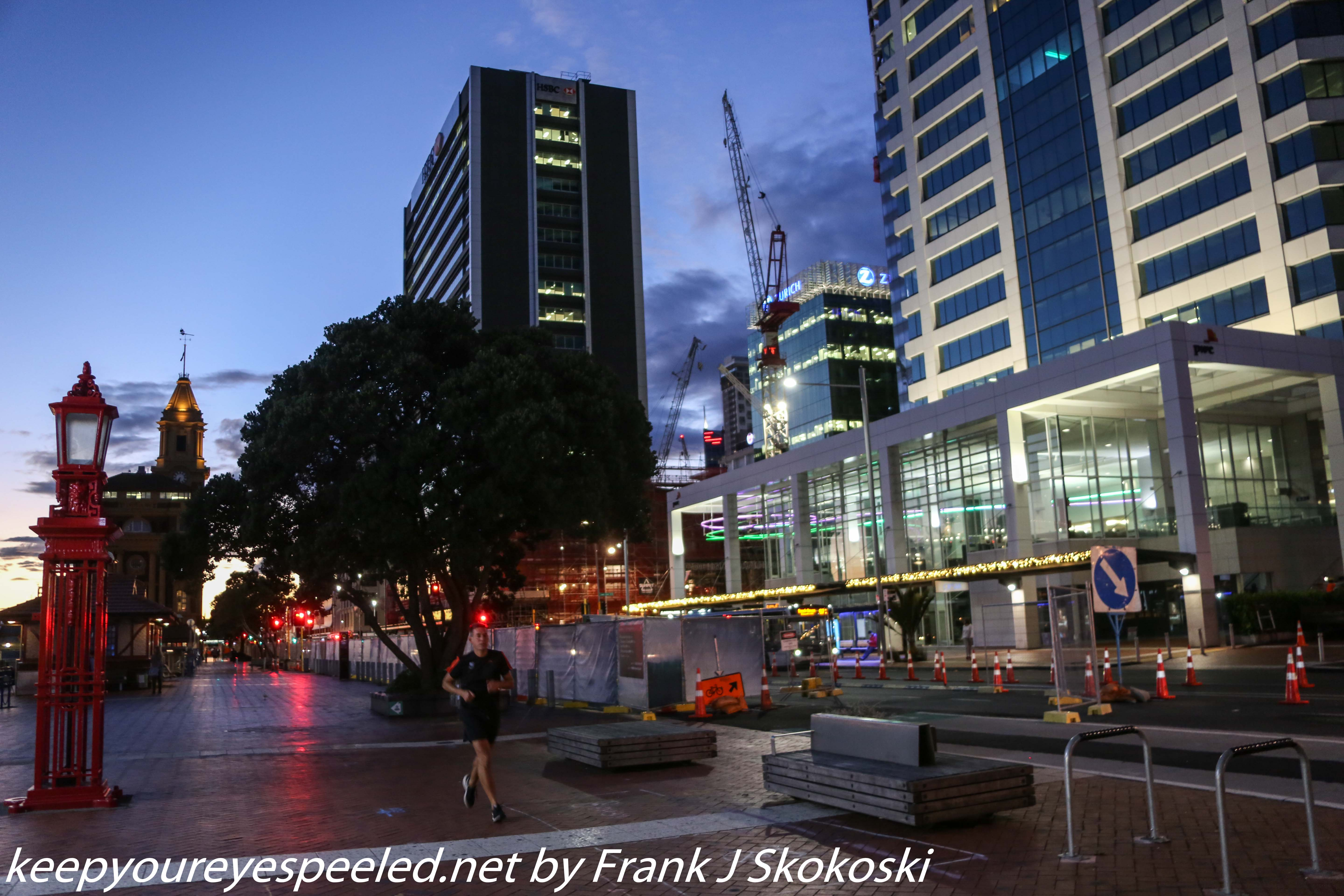 Auckland street in morning twilight